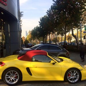racing yellow with red top